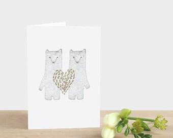 Gold Heart Anniversary Card Golden Wedding Anniversary Card Gold Wedding Card Bears 50th Wedding Anniversary Card Gold Bears Gold Heart Card