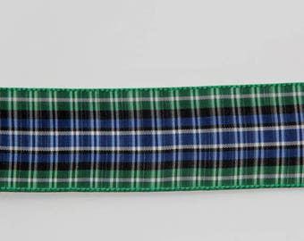 Ribbon stripe polyester Plaid blue, green, white width 3.5 cm the meter