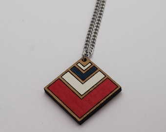 Wood laser cut pendant necklace - chevron, red, navy blue and white - diamond
