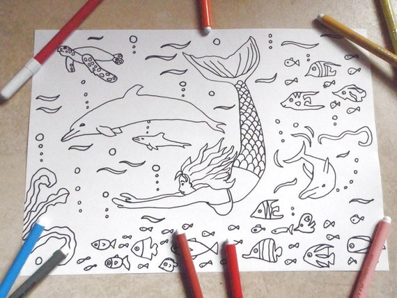 Coloring Pages For Adults Dolphins : Mermaid dolphins kids coloring page sea fishes download