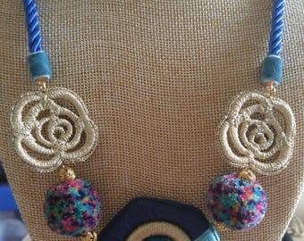 Bohemian style handmade crochet pendant necklaces - POM POM