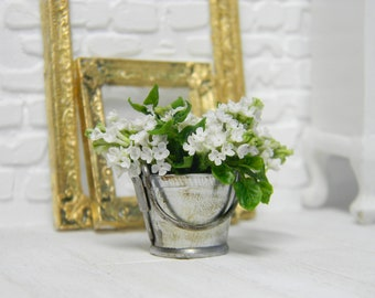 Miniature white lilac in a metal bucket, 12tn scale.