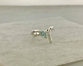 Negative Space Ring, 925 Silver, Blue Topaz