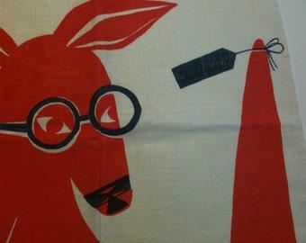RESERVED------Red Kangaroo with Joey 1960's tea towel
