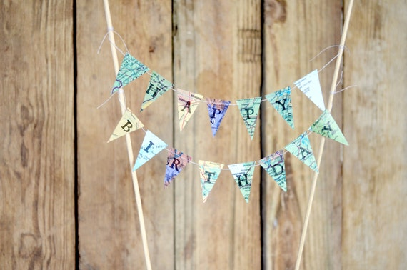 HAPPY BIRTHDAY Hand Stamped Cake Topper Garland, mini vintage map paper bunting - custom colors available