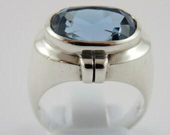 Sterling Silver Bezel Set Blue Topaz Ring- SIZE 7 3/4