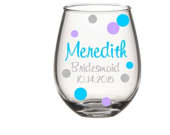 Bridesmaid, Maid of Honor, Mother of the Bride, Stemless Wine Glass