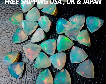 Natural Ethiopian Welo opal 5mm Trillion Cabochon Top Quality Multi Fire Opal Loose Gemstone