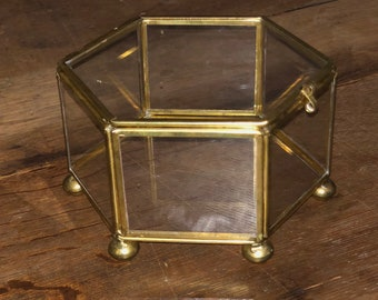Vintage Brass and Glass Box- Hexagon Shaped Box
