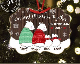 First Christmas together four snow bear personalized metal ornament - family keepsake ornament MBO-005