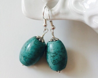 Silver Plated Turquoise Earrings.