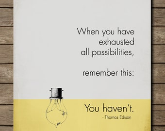 Thomas Edison, Inspirational Quote Poster,  MOTIVATIONAL Art, grey yellow scheme, Print  8 x 10