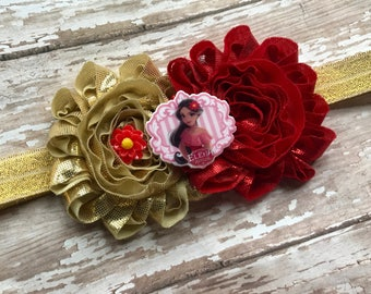 Elena of Avalor Children's Headband: Red & Gold metallic flowers - Gold headband Baby, Toddler, Children's, Girls