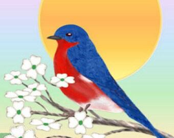 Summer Painting ACEO, Bluebird, Summertime, Sunshine, Flowers, Original Graphic Design Art Card