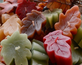 Mixed fall leaves Maple and Oak leaf floating candles set of 12