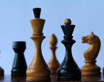 Soviet chess set. Wooden chess USSR. Vintage chess set.