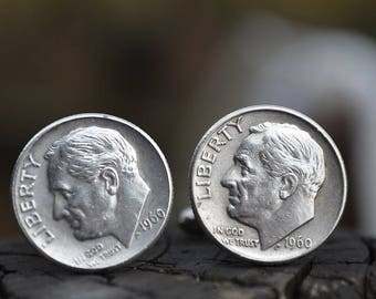 Cufflinks.....Roosevelt Silver dime cufflinks crafted from authentic .90 silver 1960 Roosevelt dimes for the Patriot in your life