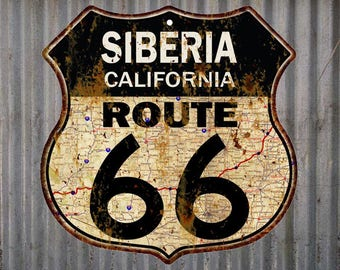 Siberia, California Route 66 Vintage Look Rustic 12X12 Metal Shield Sign S122065