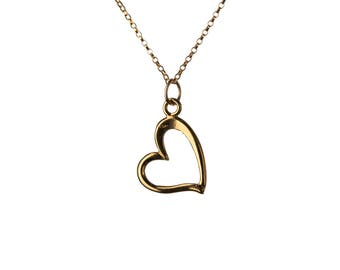 Heart 14K Gold Filled Pendant Necklace Simple Elegant Choker Necklace Friendship Jewellery Handmade Free UK delivery GP19