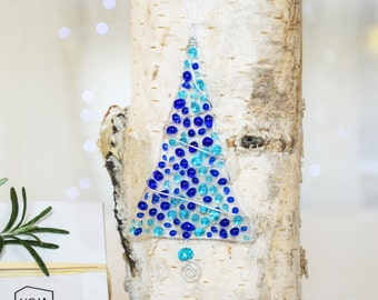 Light Blue/Dark Blue Transparent Fused Glass Christmas Ornament- Christmas Tree-Glass Christmas Tree