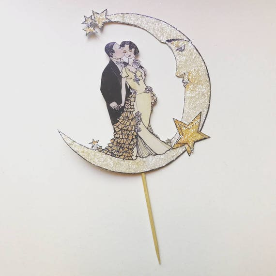 Moon Wedding Cake Topper,  Moon and Stars, Bride And Groom, Celestial, Heirloom, Keepsake, Bohemian Wedding