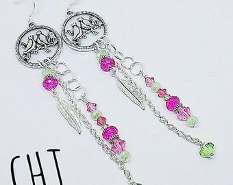 Lovebird earrings, silver bird earrings, pink crystal earrings, green crystal earrings, handmade, ready to ship, gifts for women, ships free