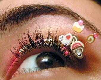 Cupcake Eyelash Jewelry - false eyelashes with chocolate, strawberry, and vanilla sweets