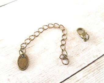 Extender Chain Lobster Clasp Set Antiqued Bronze Curb Chain Findings 12mm Lobster Clasp with Jump Rings