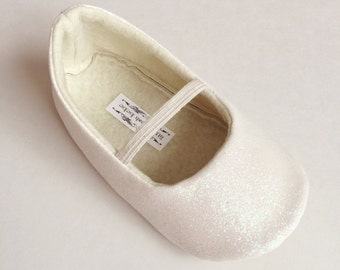 Toddler Girl Shoes Baby Girl Shoes Soft Soled Shoes Wedding Shoes Flower Girl Shoes Glitter Shoes Glitter Off White Iridescent   - Eloise