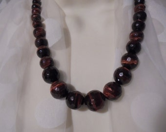Tigers Eye Graduated beaded Sterling silver Necklace