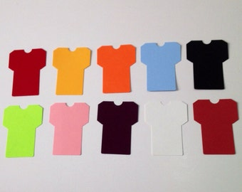 Football jersey die cut punches, tee shirt shapes, 24 count, hand punched.