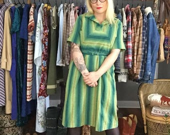 Green Striped '50s Shirtdress - Vintage Retro Woman's Clothing Large - Plus Size '50s Fashion