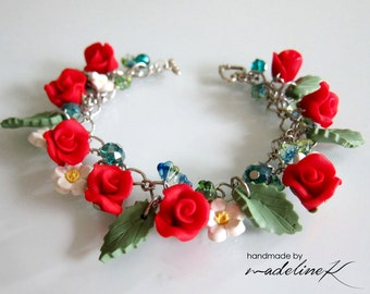Red Rose Charm Bracelet - Handmade Polymer Clay Rose Bracelet - Red Flower Charm Bracelet - Red Wedding Bracelet - Valentine Rose Bracelet