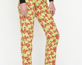 VINTAGE Yellow Red High Waisted Floral Retro Trousers