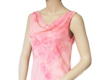 Maxi Dress Vintage 1980's Peachy Pink Floral Chifon Long Boho Party Summer Garden Party Size 4-6