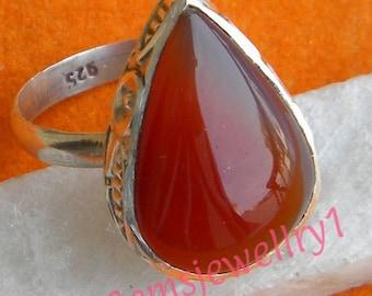 Carnelian Ring, Carnelian Stone, 925 sterling silver,Carnelian Stone Ring, Silver Ring,,Carnelian, Size 5 6 7 8 9 10 11 12 13 14 -0115100225