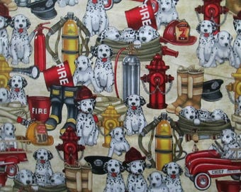 Retro Firemen Dogs Helmets Boots Tanks More Cream Cotton Fabric Fat Quarter or Custom Listing