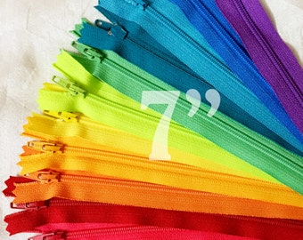 "7"" zippers ykk zippers nylon zippers colorful zippers zippers 7 inch zips 12 ykk zips assorted zippers sampler pack zipper - 12 pieces NYL07"