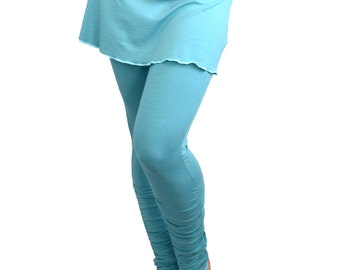 Extra Small Yoga Leggings with Mini Skirt Turquoise