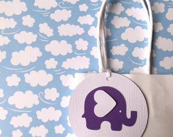 Baby Elephant gift tags. Purple & White. First Birthday party favors, baby shower, thank you gifts, new baby. Lavender, amethyst, chevron.