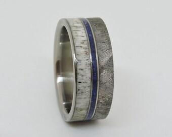 Titanium Ring, Meteorite Ring, Deer Antler and Lapis Lazuli inlay