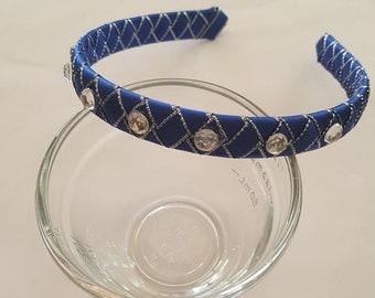Royal blue with silver edging satin ribbon woven headband hair band girl headband holiday headband school headband