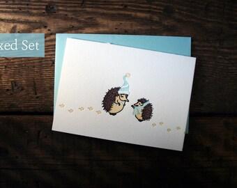 Letterpress Printed Holiday Hedgehog Cards