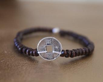 Good luck charm bracelet - Chinese coin silver - Brown wood beads - designer jewelry - women bracelet - Buddhist bracelet wood bracelet