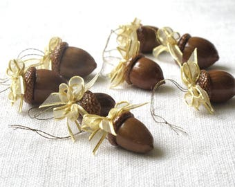 Acorn ornaments real acorns with gold bow lacquered  Christmas tree ornament Home decor Christmas gift wrap,  set of 6 or 12