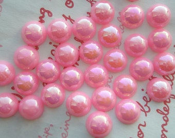 Shiny Pink Pearlized Round Cabochons 9mm 50PCS