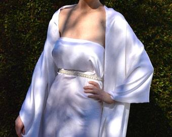 Silk shawl, white luxurious shawl, white bridal shawl, white silk shawl, silk shrug, silk scarf, white silk wrap