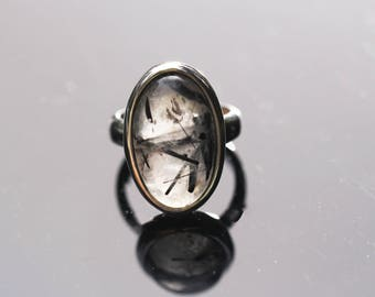 Oval Tourmalated Quartz Ring, Size 5, Black Tourmaline Ring, Black Rutile Rutilated Quartz, Black Schorl