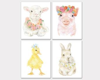 Watercolor Farm Animal Floral Art Prints Nursery Childrens Room Set of 4 Lamb Pig Duckling Bunny PORTRAIT-Vertical Orientation