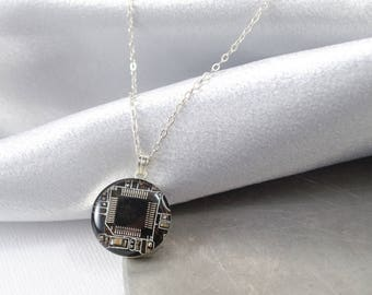 Circuit Board Necklace Black, Sterling Silver Necklace, Royal Blue Jewelry, Wearable Technology, Computer Engineer, Science Necklace, Nerdy